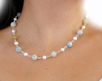 fascinating magic of aqua and ivory pearl necklace for bridals in sterling silver