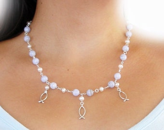 ivory fish love necklace for weddings with chalcedony gemstone beads and white pearls in sterling silver