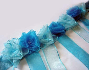 amazing Sapphire blue roses love garden necklace for weddings with blue and white crystal beads.. (OOAK)