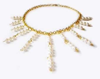 sun in ivory white pearls necklace for weddings