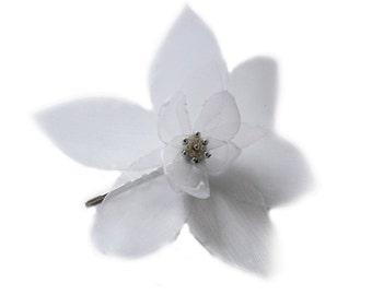 romantic ice white lilium christmas flower bobby pin