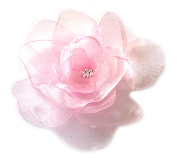 sweet pink opal big rose blossom flower bobby pin