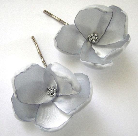 glitzy silver rose blossom wedding flower bobby pins (set of 2)