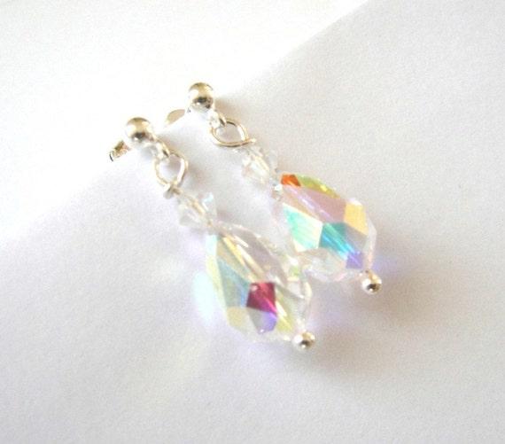 white cream swarovski crystal drops bridal stud earrings