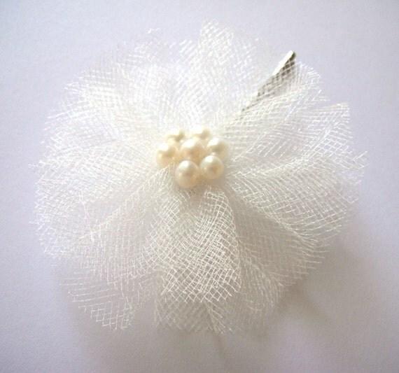 ivory snow white rose bloom wedding flower bobby pins (set of 2)