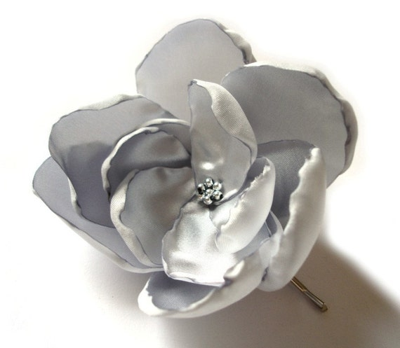 reserved for Sharon Heath - silver star rose blossom wedding flower brooch