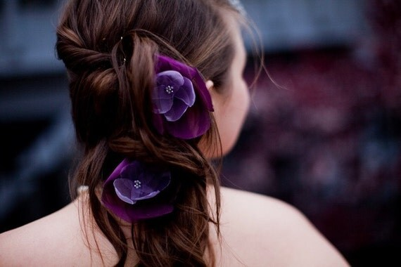 ON SALE romantic amethsyt lilac purple rose blossom flower hair pins (2 pieces)