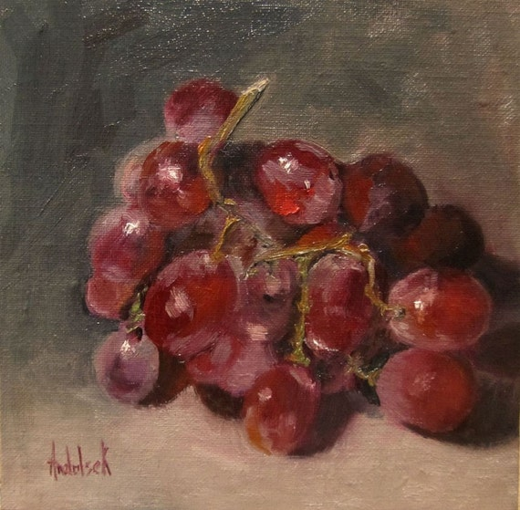 Art, ORIGINAL OIL Painting OOAK, Fruit, 'Fresh Table Grapes', 6x6