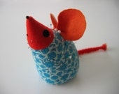 1960's MOD Vintage Stuffed TOY Mouse.  Used as a pin cushion. Eames Panton era. Mid century. England