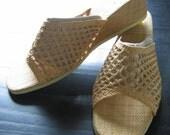 60's 70's Raffia Wedge Shoes.  Vintage, Hippie, Summer of LOVE.  Woodstock