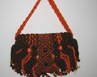 Boho, Hippie, Macrame bag, handbag, purse, 1970's. Unique bag with wood beads.