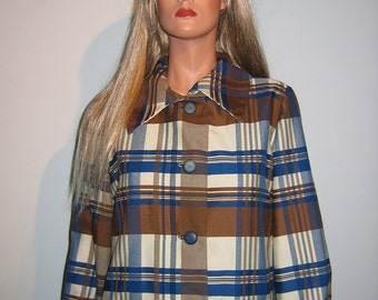 Vintage 1970's Plaid Coat-Dress.  Designer, Mr. Z of California.
