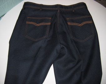Vintage 70's Men's Polyester Jeans.   Size 34 X 30.  4 Pocket pants.  New old Stock.  Made in USA.