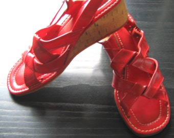 60's 70's Red Cork Wedge Shoes.  Vintage, Hippie, Ethnic, Boho, Summer of LOVE.  Woodstock