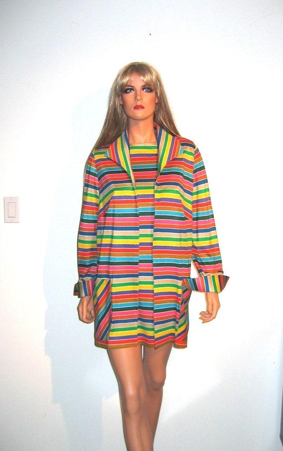 Vintage 70's Mod Mini dress and matching jacket. Size Large. Colorful stripes.