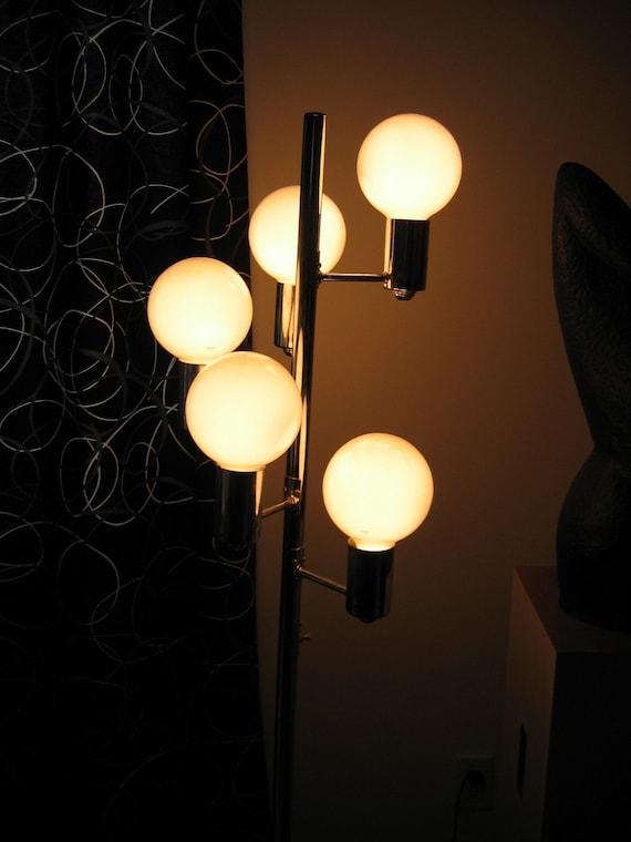 70 39 s floor lamp vintage 5 bulb chrome lamp mod mid century modern. Black Bedroom Furniture Sets. Home Design Ideas