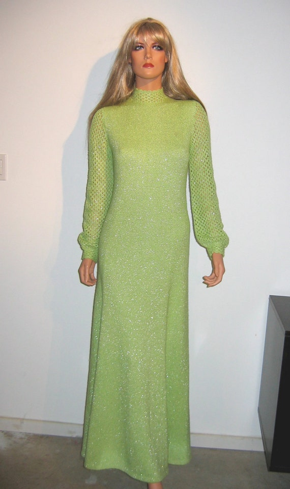 1960s, Vintage Lime Green and Silver KNIT Sweater dress.  Designer, St. John Knits.