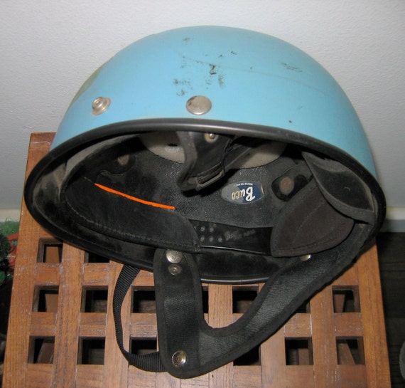 HOLD for Craig.  Men's Buco Blue, Racing Helmet. Indie, Punk, Spaceman.  Vintage Motorcycle.