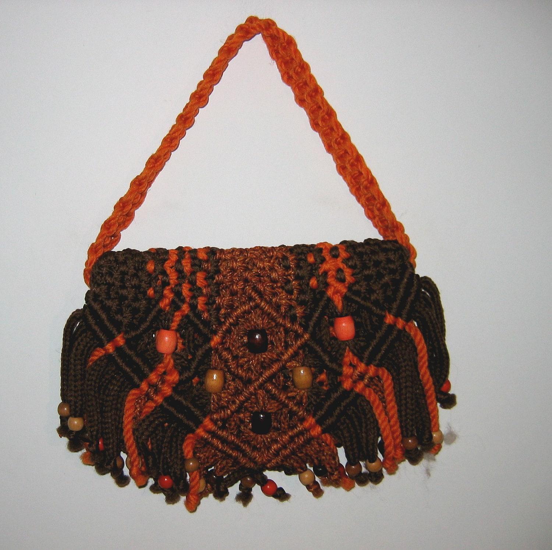 Boho Hippie Macrame Bag Handbag Purse 1970 S Unique