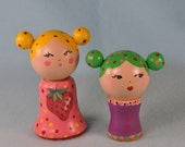 Wooden Spool Doll Set - Two Wooden Dolls