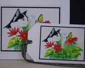 Black and White Cat Card and Tag