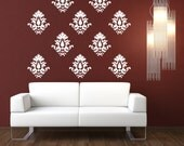 2501  -  Damask Vinyl Wallpaper Pattern- 10 individual pieces
