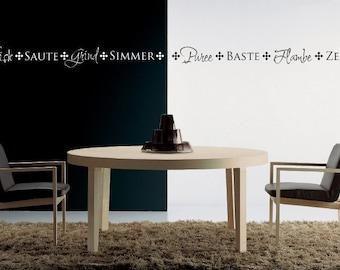 Vinyl Decal Kitchen Border - Puree Baste Flambe Zest - 1416
