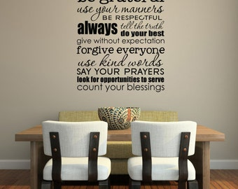 SUBWAY ART  - Family rules-size 17 x 23 inches - Vinyl lettering wall decal sticker gift,Design Divas 1508