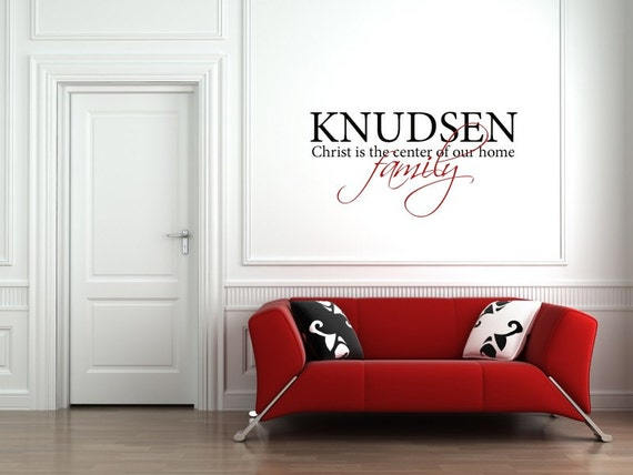 Vinyl Lettering Decal - Custom Family Name -Christ is the center of our home- 2 colors -1109