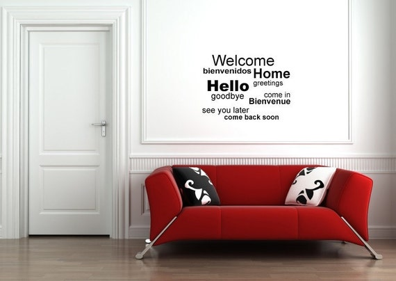 Vinyl Lettering Decal -  SUBWAY ART -  Welcome Home - 1518