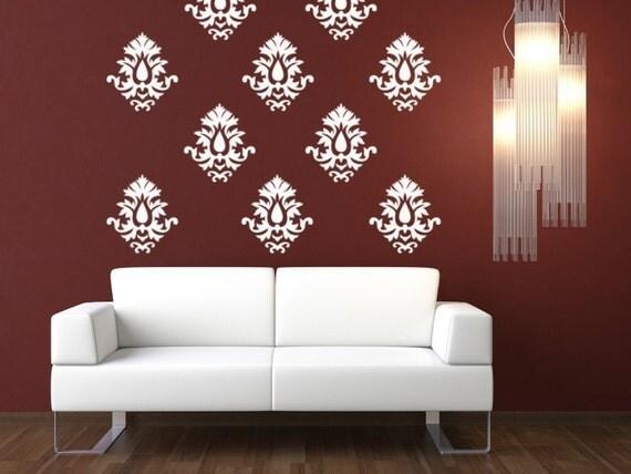 Vinyl Wallpaper Decal-Damask Pattern - 10 individual pieces-2501