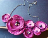 The Today Show - Dark Pink Crush Bloom Bib Necklace