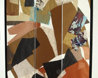 FOLDING SCREEN, collage, painting, 70 inches high x 52 inches wide, one of a kind