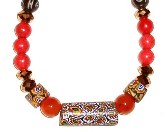 "ANTIQUE VENETIAN MILLEFIORI African Trade Beads necklace 18 1/4"",  painted beads from India, in coral, mustard, black, bronze"