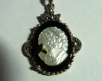 Lovely Vintage Carved Shell Cameo Sterling Silver  Marcasite Necklace on Etsy