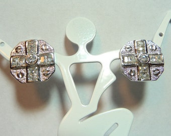 Vintage Sterling Silver and CZ Earrings on Etsy