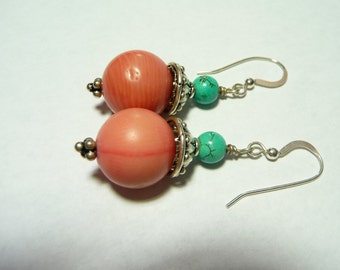 Coral Turquoise and Sterling Earrings