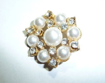 Vintage Faux Pearls and Rhinestones Button on Etsy