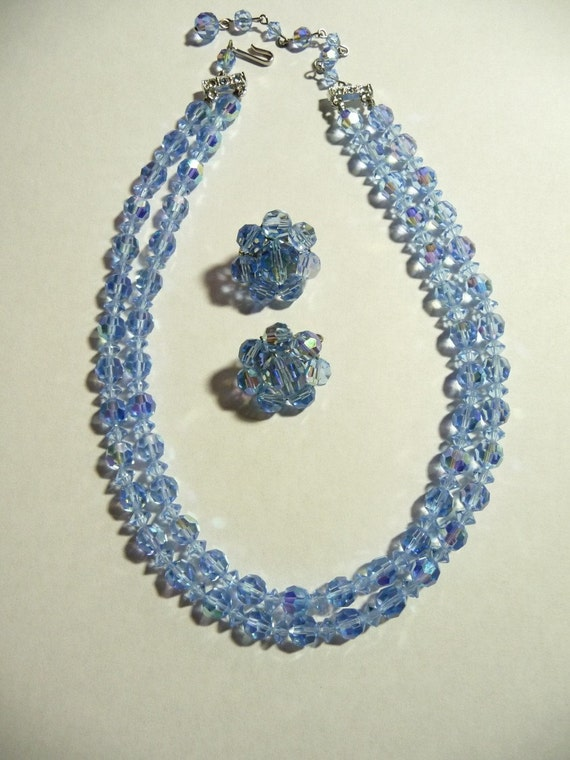 Vintage Czech Crystals Double Strand Necklace with Matching Earrings Coro on Etsy