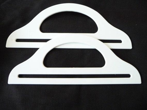 Vintage White Lucite Plastic Purse Handles Unused