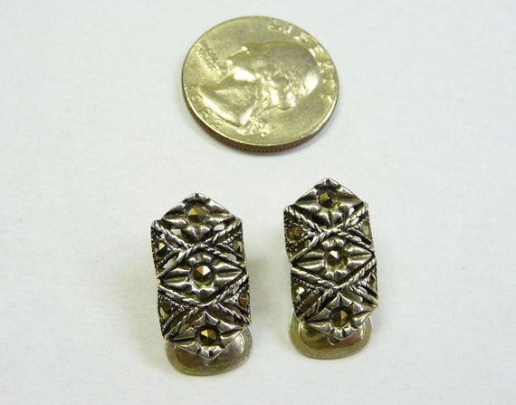 Sterling Silver and Marcasite Clip Earrings on Etsy