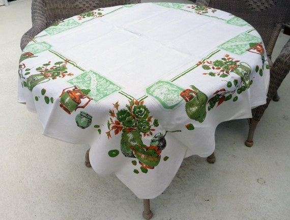Vintage Printed Linen Tablecloth on Etsy