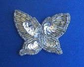 Sequin Butterfly applique, silver.  Vinage. Unused.