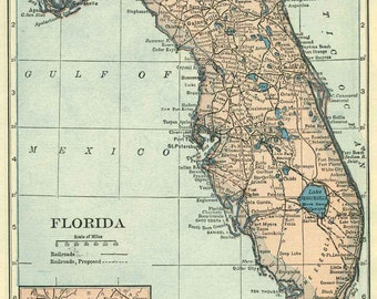 Florida map digital download at 300dpi  of vintage state map of the 1920s.