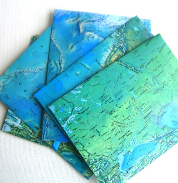 Envelopes recycled maps world  and oceans.  Travel Set 6 with writing paper
