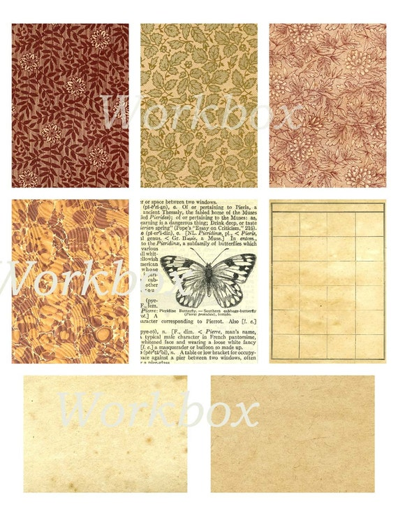 Victorian paper digital backgrounds. Aceos and tags. Digital 300 dpi  printable download.  Collage sheet in tans and browns..