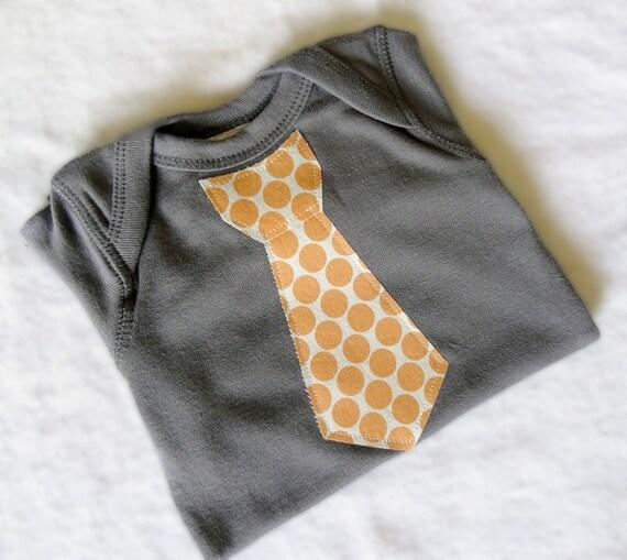 Dot in Tangerine Tie Shirt or Onesie by MandyAnn- Boy