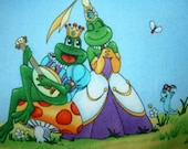 Cotton Fabric Jumper Pinafore or Sundress Top Fairy Tale Frogs, Sizes 2, 4, 6 or 8, TWO Left