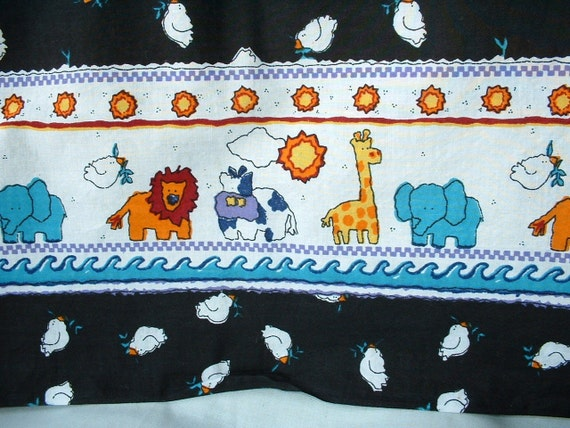 Cotton fabric double border kids animal print 1 yard by for Animal print fabric for kids