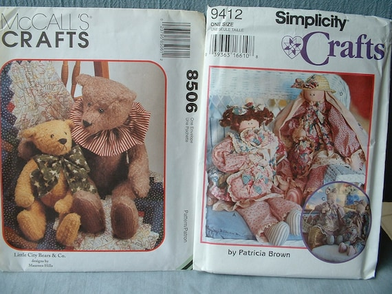 McCalls Crafts City Bears Pattern 8506 & Simplicity 9421 Doll, Bunny, Cat plus Clothes - Price Reduction